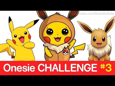 Pokemon CHALLENGE - How to Draw Pikachu in Eevee Onesie step by step CUTE