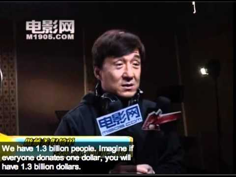 Jackie Chan talks about donating money and doing charity (translated)
