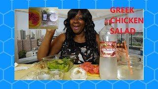 GREEK BASIL CHICKEN SALAD MUKBANG 먹방 EATING SHOW + AFFIRMATIONS
