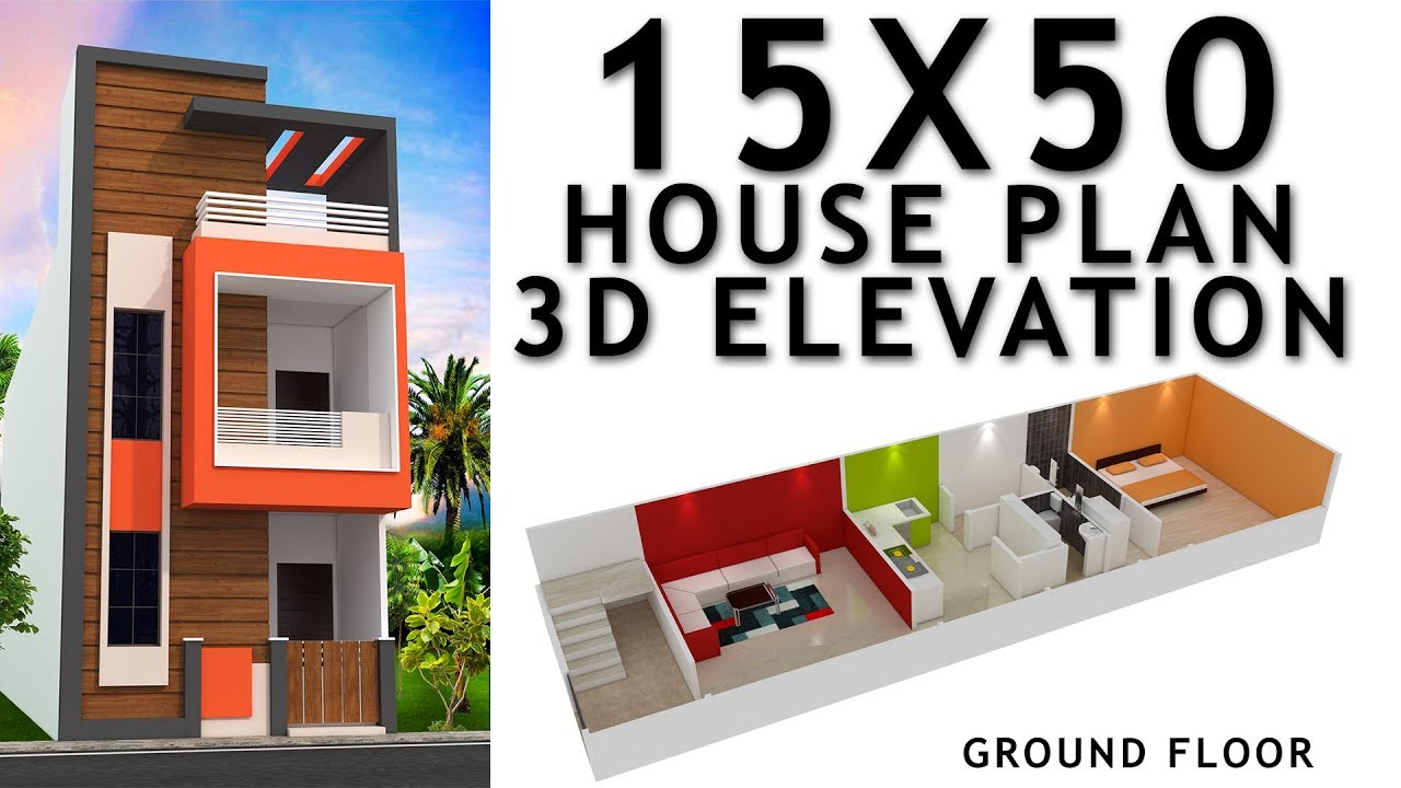 15x50 house plan with 3d elevation by nikshail