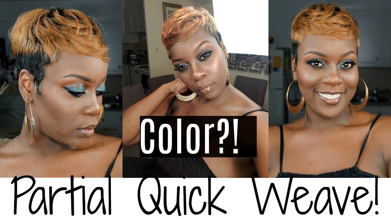 partial quick weave with color!| short hair tutorial!i empire 28 pieces