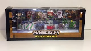 Minecraft Festive Biome Holiday Pack Gingerbread Creeper Prancer Yeti Evil Elf Toy Opening & Review