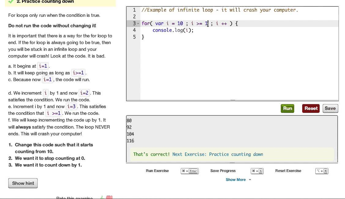 Javascript Practicing for loops: How does it work? - Codecademy