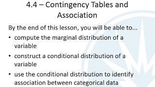 Mth120 Section 4.4 - Contingency Tables and Association