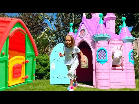 Katy Pretend Play With Baby Dolls Funny Kids Video With Toys And Ride On UNICORN