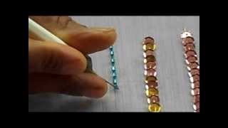 AARI / TAMBOUR /MAGGAM  EMBROIDERY: how to sew bungle bead with a aari needle