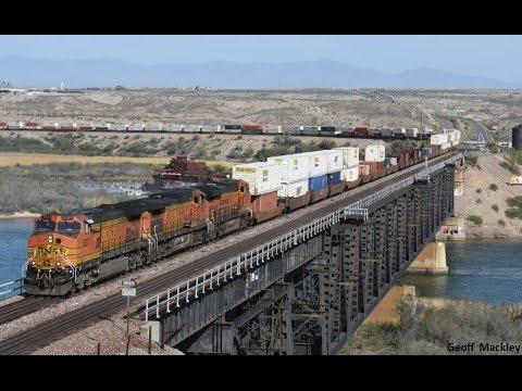 Massive intermodal train action,   BNSF Transcon,   Mojave Desert