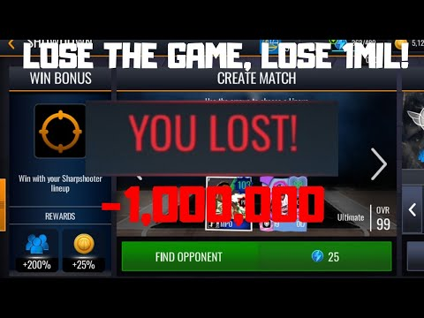 LOSE THE GAME LOSE 1 MILLION COINS IN NBA LIVE MOBILE 20!!!