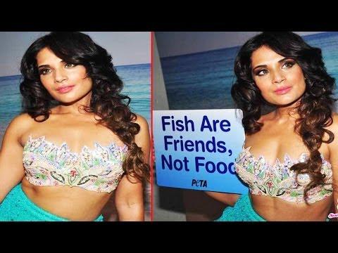 "Beautiful Actress Richa Chadda In Fish Look Supporting ""PETA"""