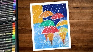 How To Draw Rainy Season Scenery Drawing With Oil Pastel Step By Step