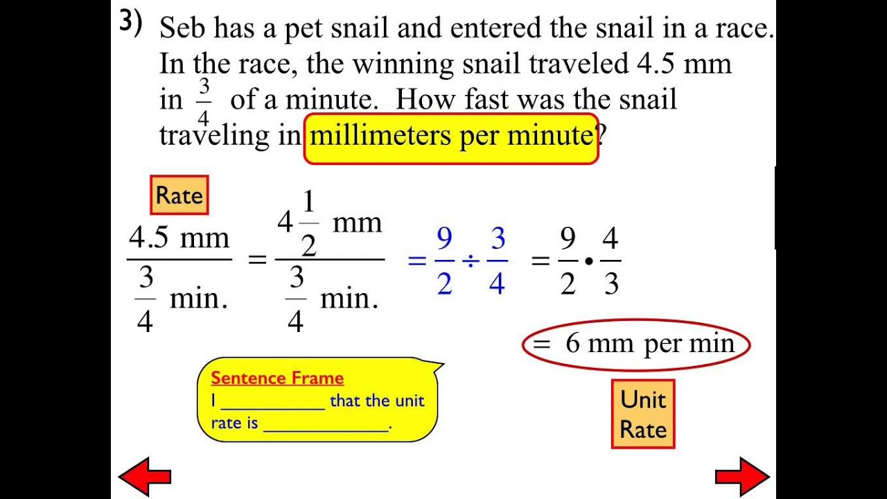worksheet Unit Rates Worksheet 7th Grade 22b ratios and unit rates with fractions youtube youtube
