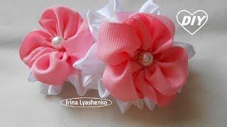 Цветочки канзаши на резинку МК/DIY Flower on gum/РАР Flor en la goma#225