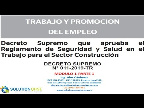 Ds N 011 2019 Tr Reglamento Seguridad Y Salud Para El