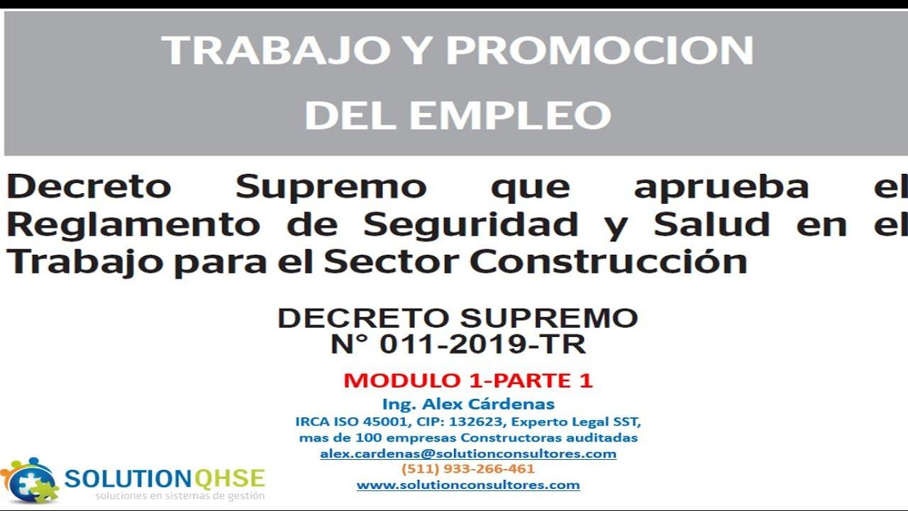 Ds N 011 2019 Tr Reglamento Seguridad Y Salud Para El Sector Construcción Modulo 1 Parte 1