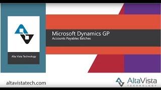 Microsoft Dynamics GP AP Batches