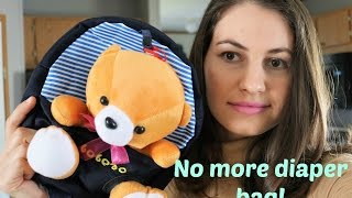 Toddler cute teddy bear backpack / What's in his bag?