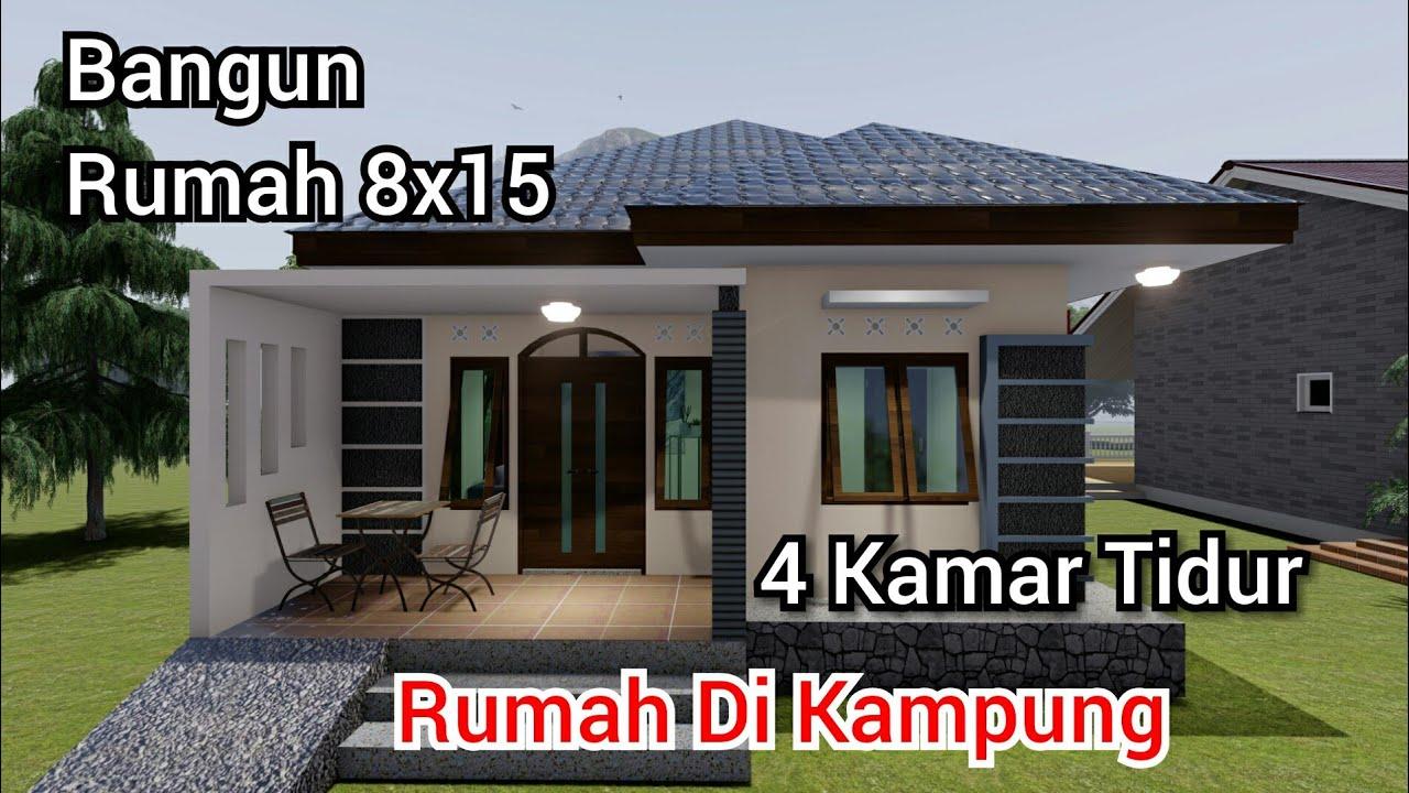 Desain Rumah 8x15m Di Kampung Dengan 4 Kamar Tidur Minimalis Youtube