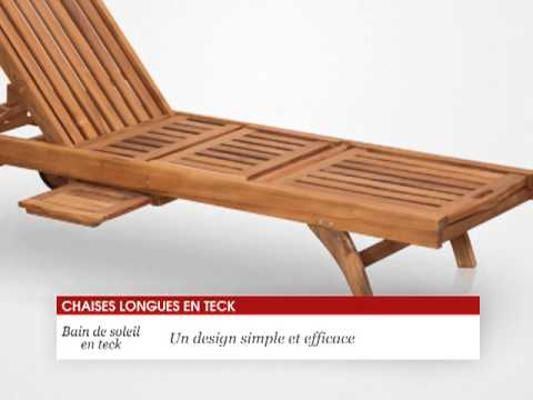 chaise longue bain de soleil en teck 200 cm tek import youtube. Black Bedroom Furniture Sets. Home Design Ideas