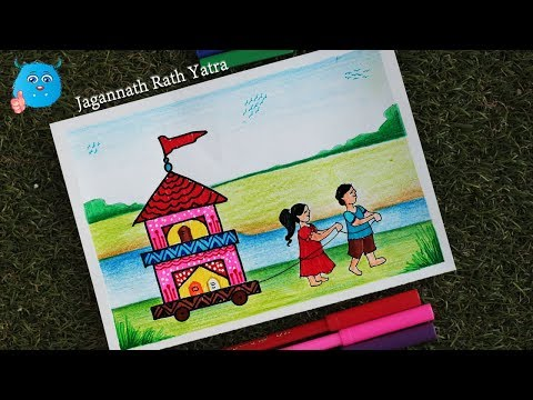 Rath Yatra Festival Drawing in Pencil - How To Draw a  Scenery of Rath Yatra Celebration for Kids