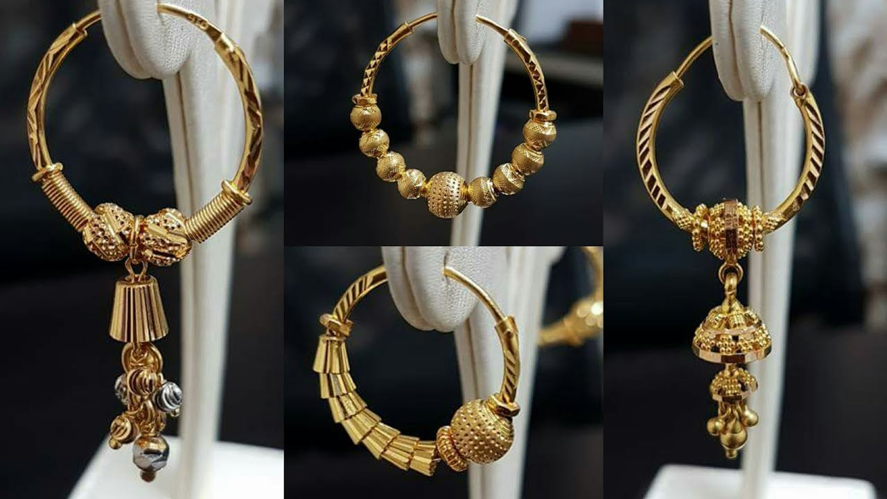 34ad12dc8b4a Latest under 10 to 20 Gram Gold HOOP Earrings Designs - YouTube