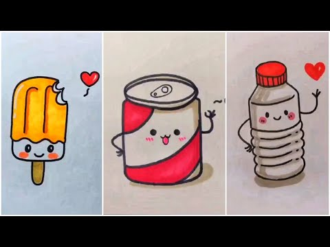 Vẽ đồ ăn thức uống cute đáng yêu, vẽ hình cute | Cute drawing #48