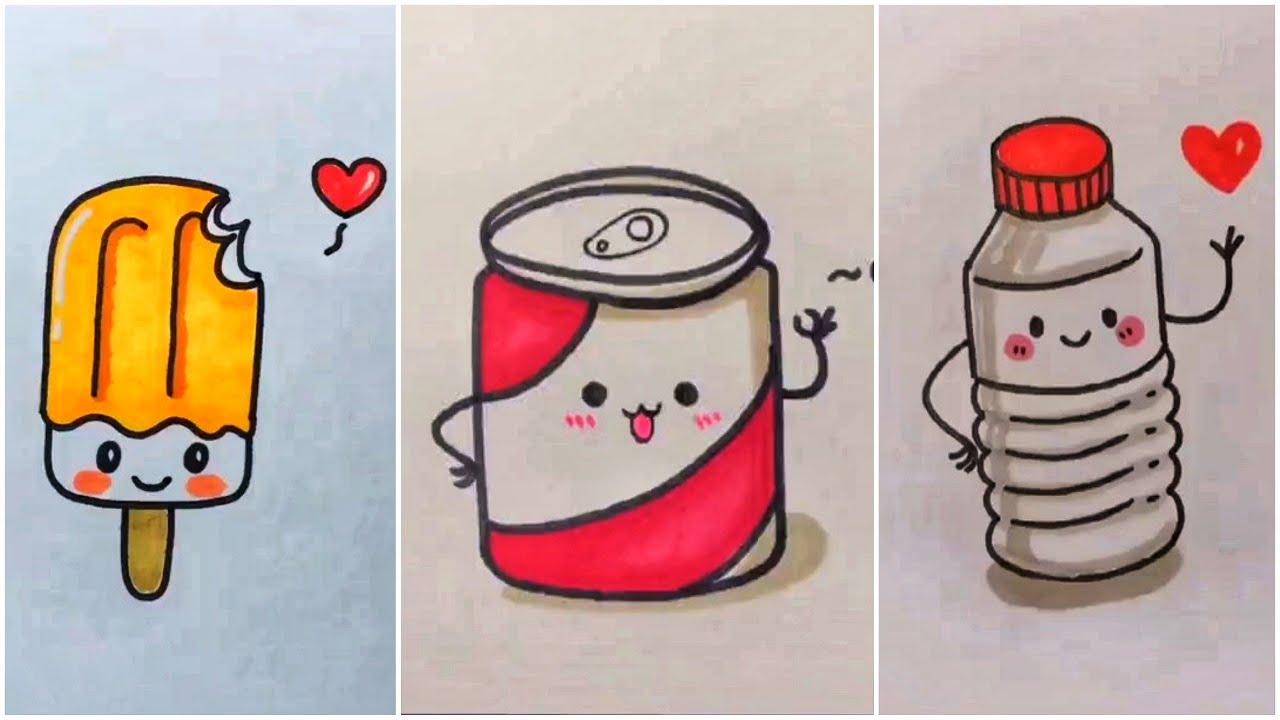 Vẽ đồ ăn thức uống cute đáng yêu, vẽ hình cute | Cute drawing #48 | Tất tần tật những nội dung liên quan đến hình vẽ đồ ăn dễ thương đúng nhất