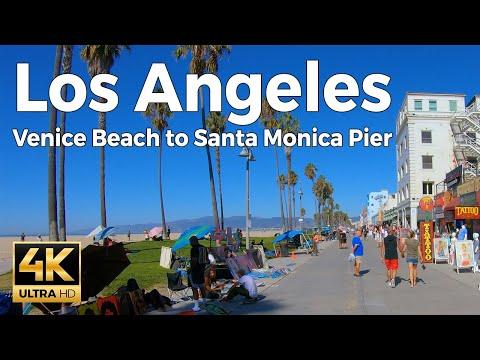 Venice Beach To Santa Monica Pier Walking Tour - Los Angeles (4k Ultra HD 60fps)
