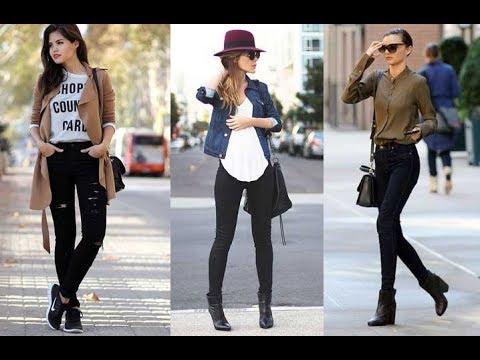 Jeans negro outfit : look de moda 2018