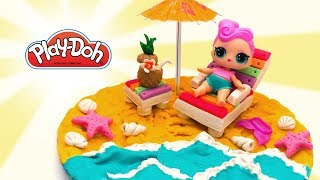 Dolls Beach Party. Play Doh Crafts. How to Make Stuff for Dolls Vacation. Video For Kids