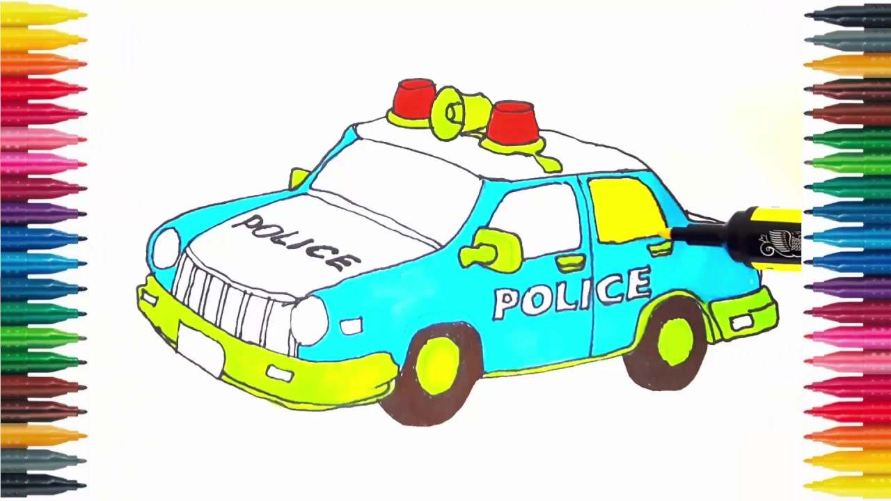 police car coloring book fun painting learning colors how to draw