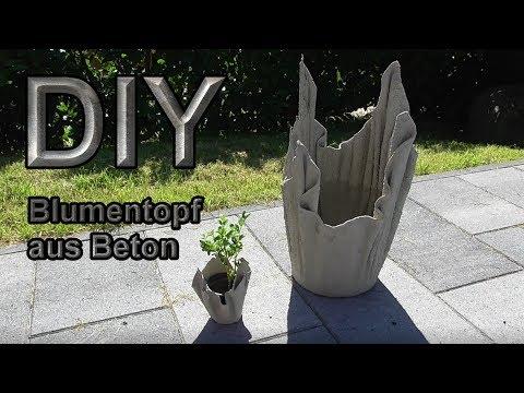 Blumenkbel aus betongetrnten Tchern selber machen  DIY Pflanzkbel kreativ mit Beton gieen