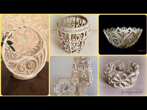 NEW QUILLING JUTE CRAFT IDEAS || JUTE QUILLING BASKETS || JUTE LAMP || JUTE  DIY CRAFT IDEAS
