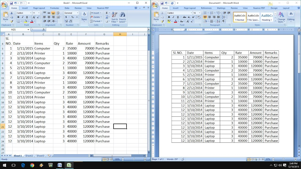 How to exact copy  paste excel data into word table also youtube rh