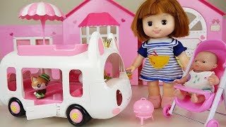Picnic BUS and baby doll ice cream truck car toys play