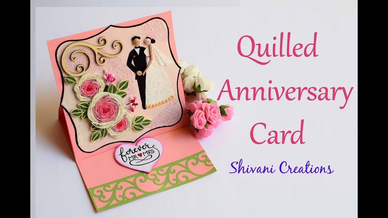 Quilled Anniversary Card Diy Wedding Quilling Easel