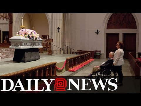 Mourners attend the funeral service of former First Lady Barbara Bush