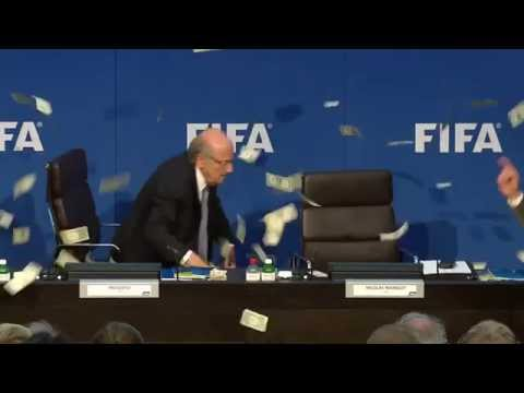 Protester Throws Money At Sepp Blatter At Fifa Conference (Fifa scandal 2015)