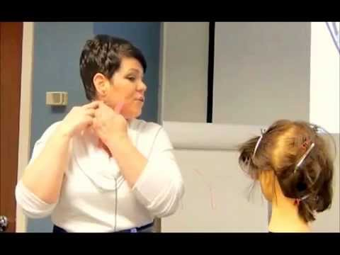 How to cut thin hair above the ear in women's hair cutting. - YouTube