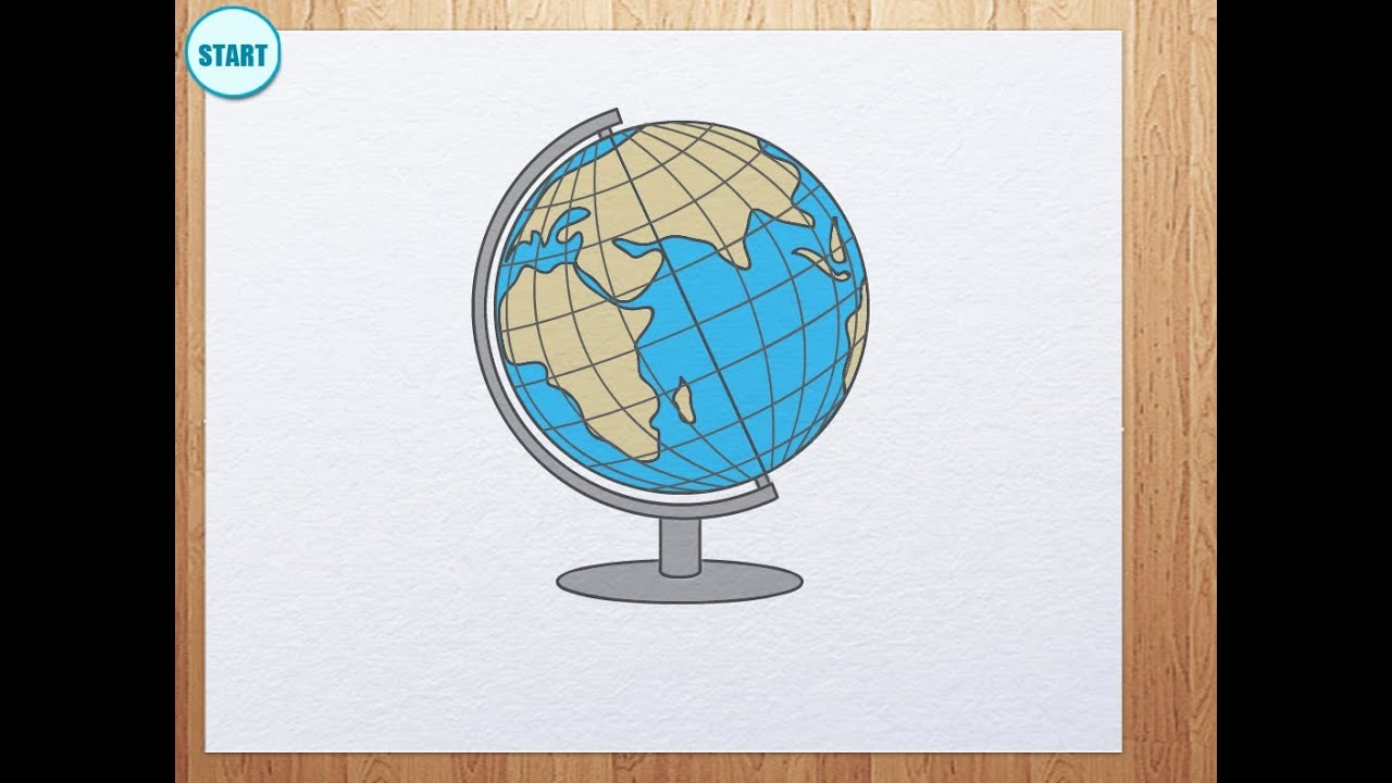 How to draw globe youtube for Easy to draw earth