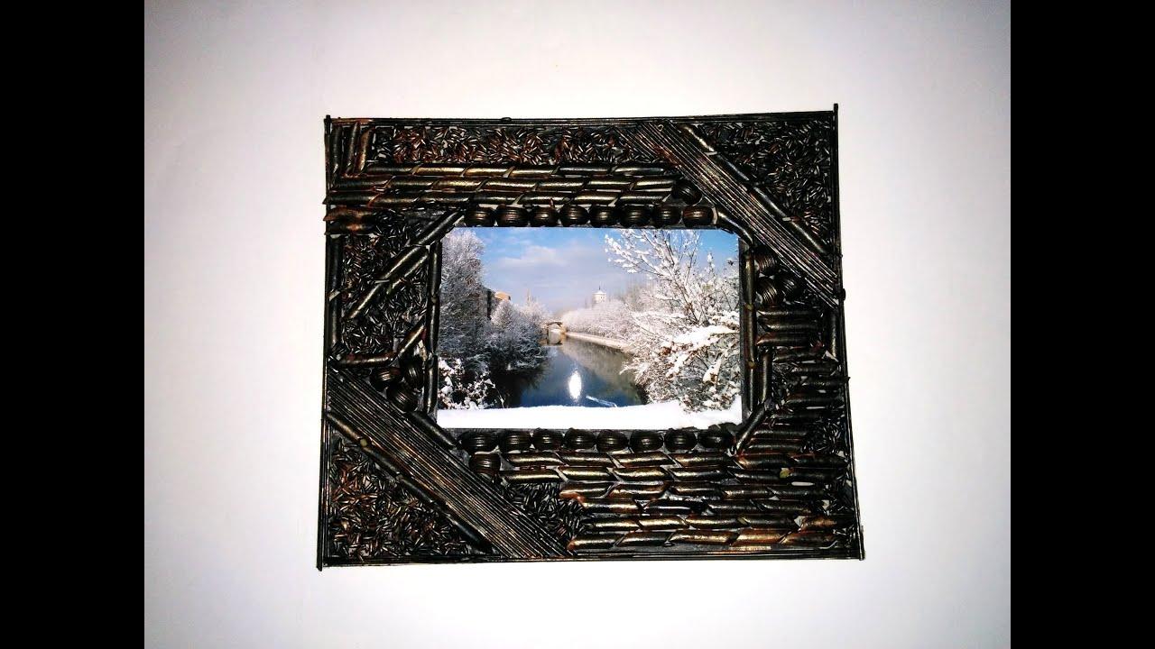 Marco de fotos hecho con pasta manualidades faciles - Manualidades faciles cuadros ...
