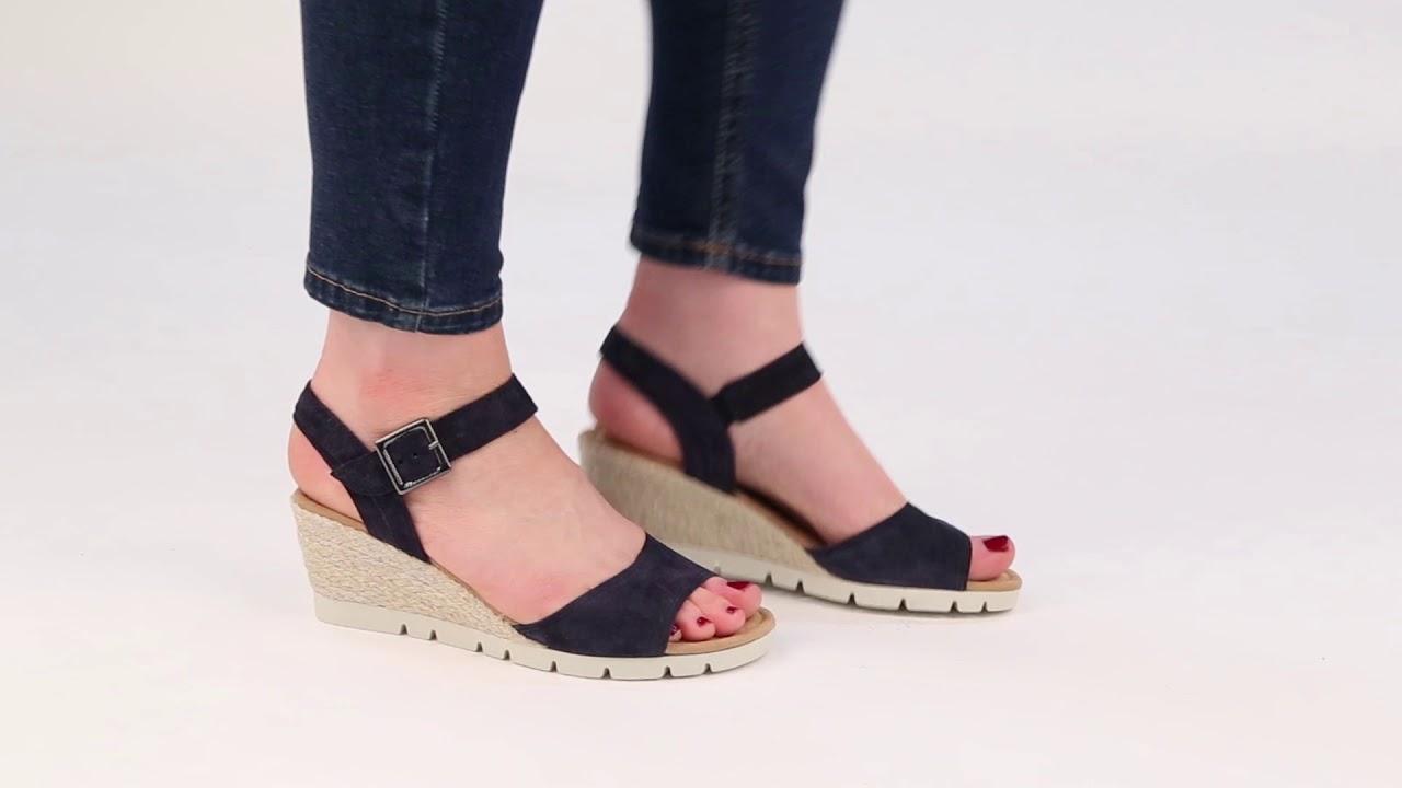 83feddad16 Gabor Nieve Ocean Suede Womens Wedge Heel Sandals - YouTube