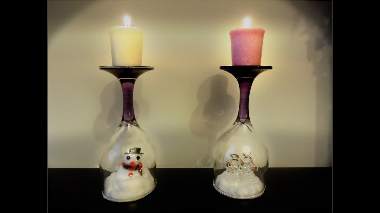 diy wine glass christmas decor diy wine glass winter decor youtube