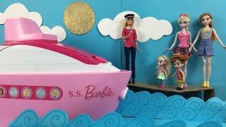 Cruise Ship! Elsa & Anna board Barbie's Cruise Ship Adventure! Swimming Pool Slide Buffet & Candy!