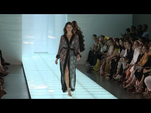Isabeli Fontana and models on the runway for the Azzaro HC Fashion Show