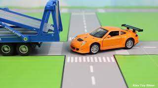Мультик про машинки - 195 серия:  Полицейская погоня, Гоночная машина, Монстер Трак, Эвакуатор