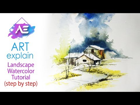 Morning Watercolor landscape Painting  | How to paint a watercolor landscape | Art Explain