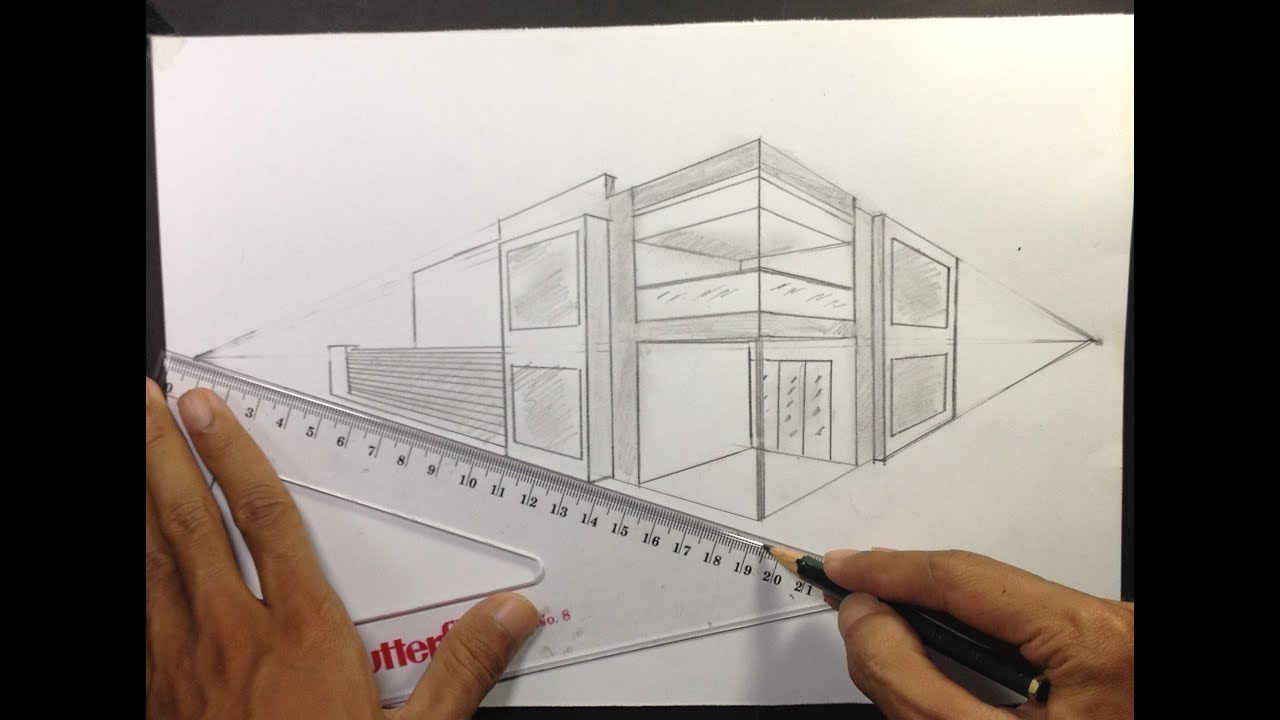 How To Draw Two Point Perspective Modern House