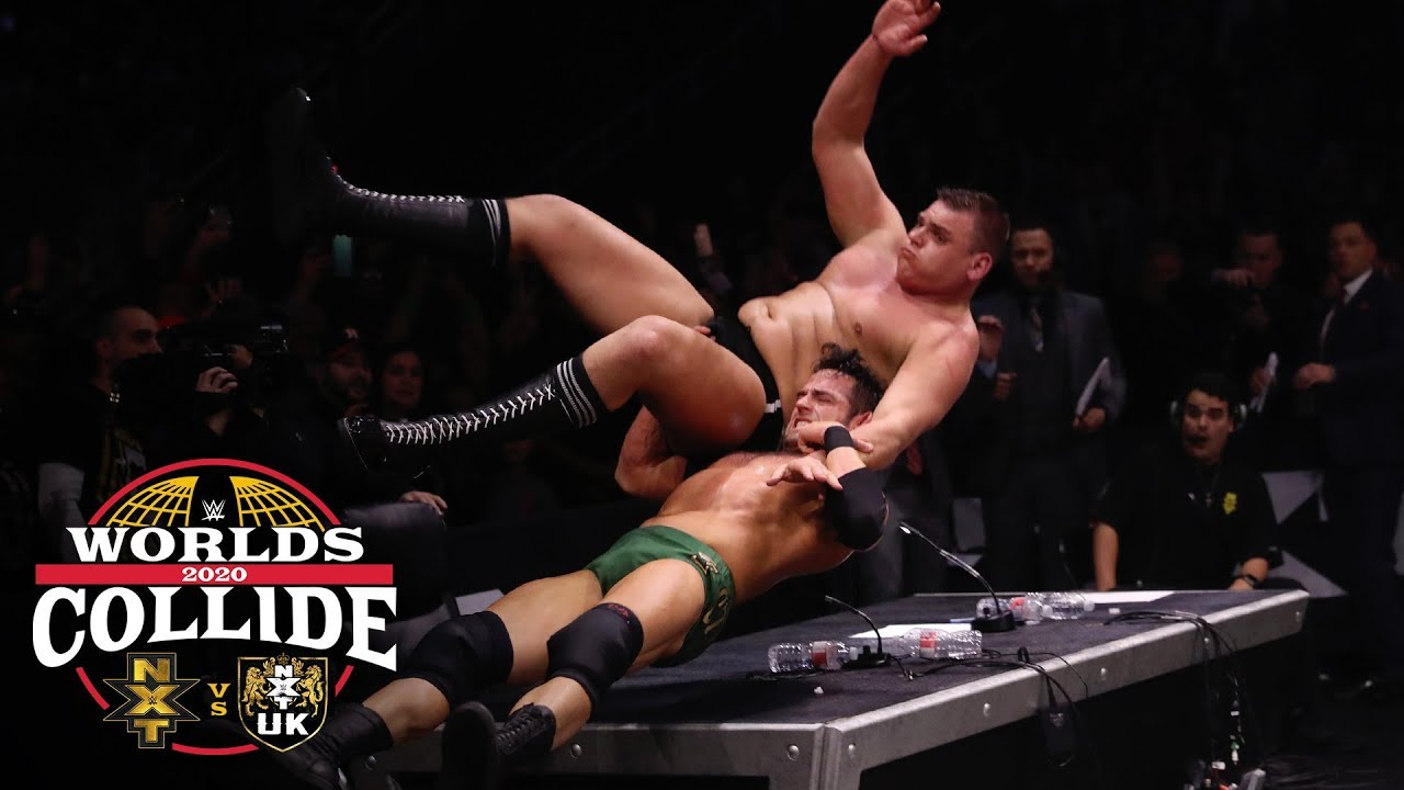 Roderick Strong slams WALTER through the announce table: WWE Worlds Collide, Jan. 25, 2020 - YouTube
