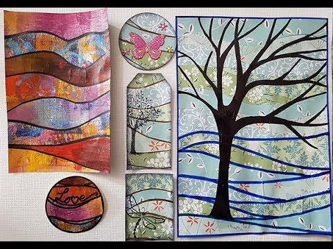 Quilt Effect, Background - Art Journal Page, ATC, Tags