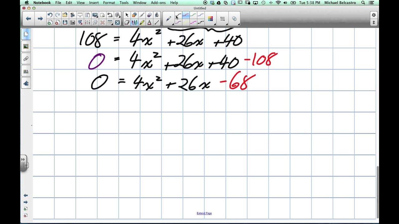Solving Quadratic Problems Grade 10 Academic Lesson 6 5 12 10 13